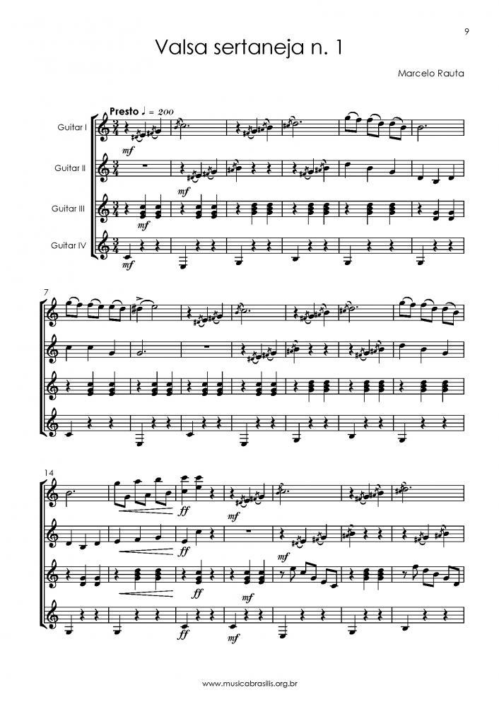 6 valsas sertanejas para quarteto de violões (2018)
