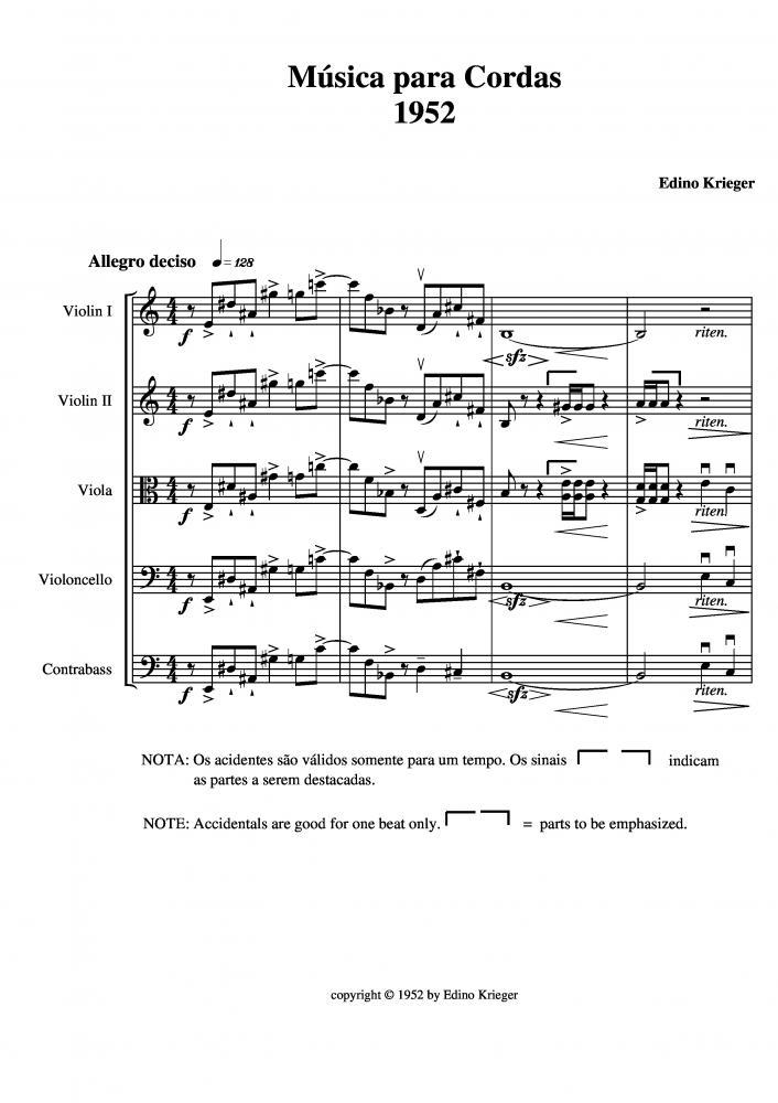Música para cordas 1952