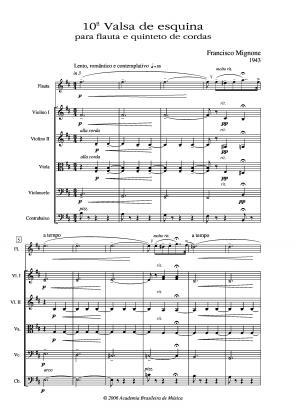 Valsa de esquina n.10 para flauta e quinteto de cordas (1943)