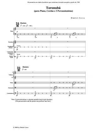 Toronubá para piano, cordas e percussão (2000)