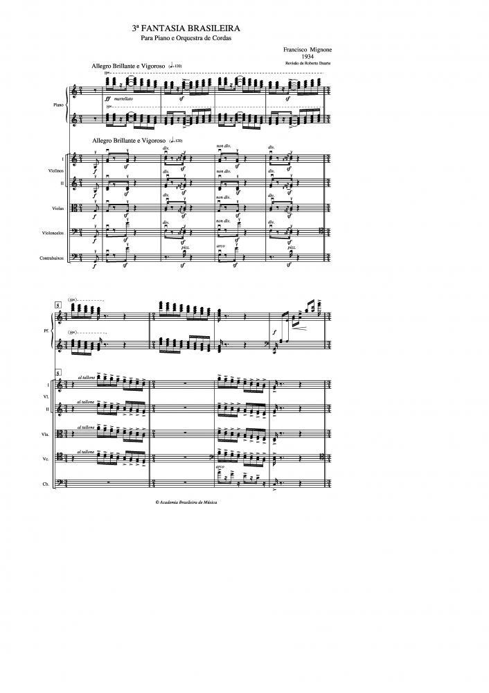Fantasia Brasileira n.3 para piano e orquestra de cordas (1934)