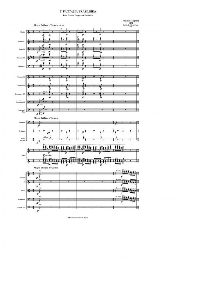 Fantasia Brasileira n.3 para piano e orquestra sinfônica (1934)