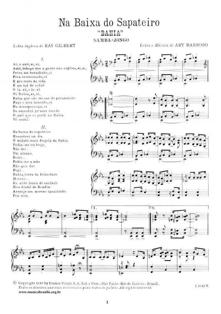 Na baixa do sapateiro (piano)