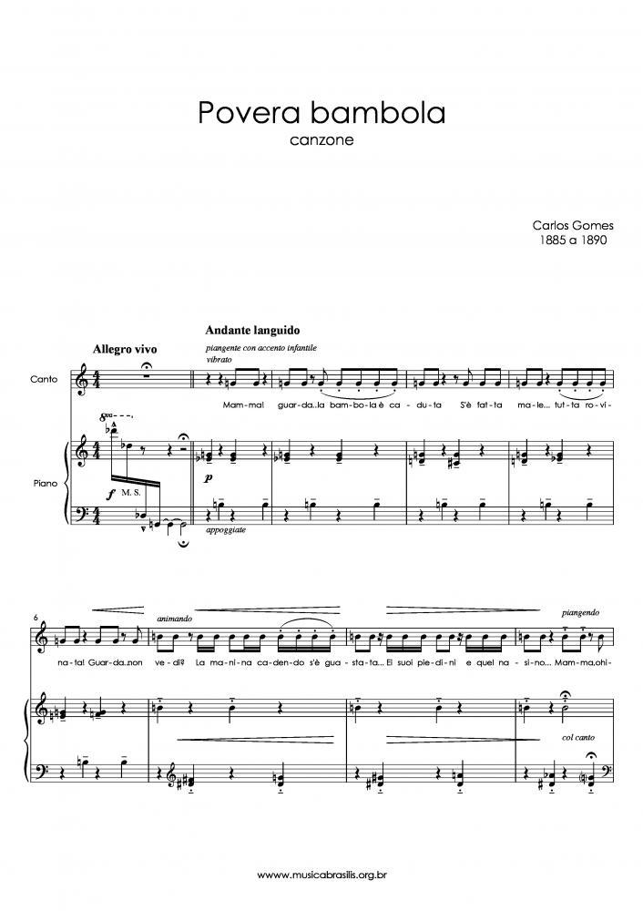 Povera bambola (voz e piano) (1885)