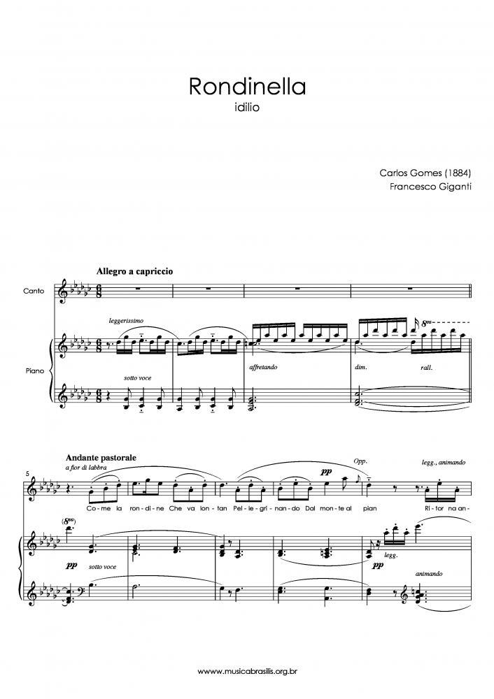 Rondinella (voz e piano) (1884)
